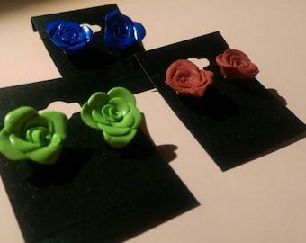 Polymer Clay Rose Stud Earrings