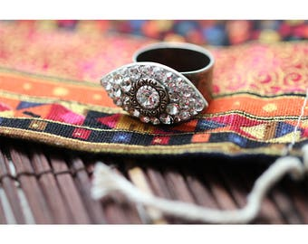 Glamorous Crystal Evil Eye Ring / Swarovski Crystal Cocktail Ring in Sterling Silver / Fully Adjustable- One Size Fits All
