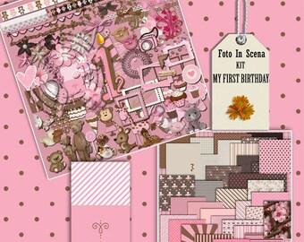 Digital kit MY FIRST BIRTHDAY,  birthday party, girl, pink,