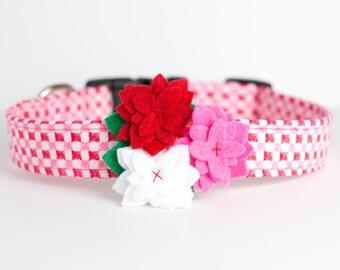 Valentine's Day Dog Collar with Flower - Red, Pink, & White
