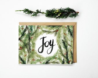 Christmas Card Joy Foliage and Berries