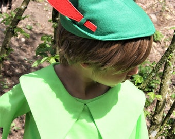 Peter Pan hat, green hat, green felt hat, costume hat, costume, helloween outfit