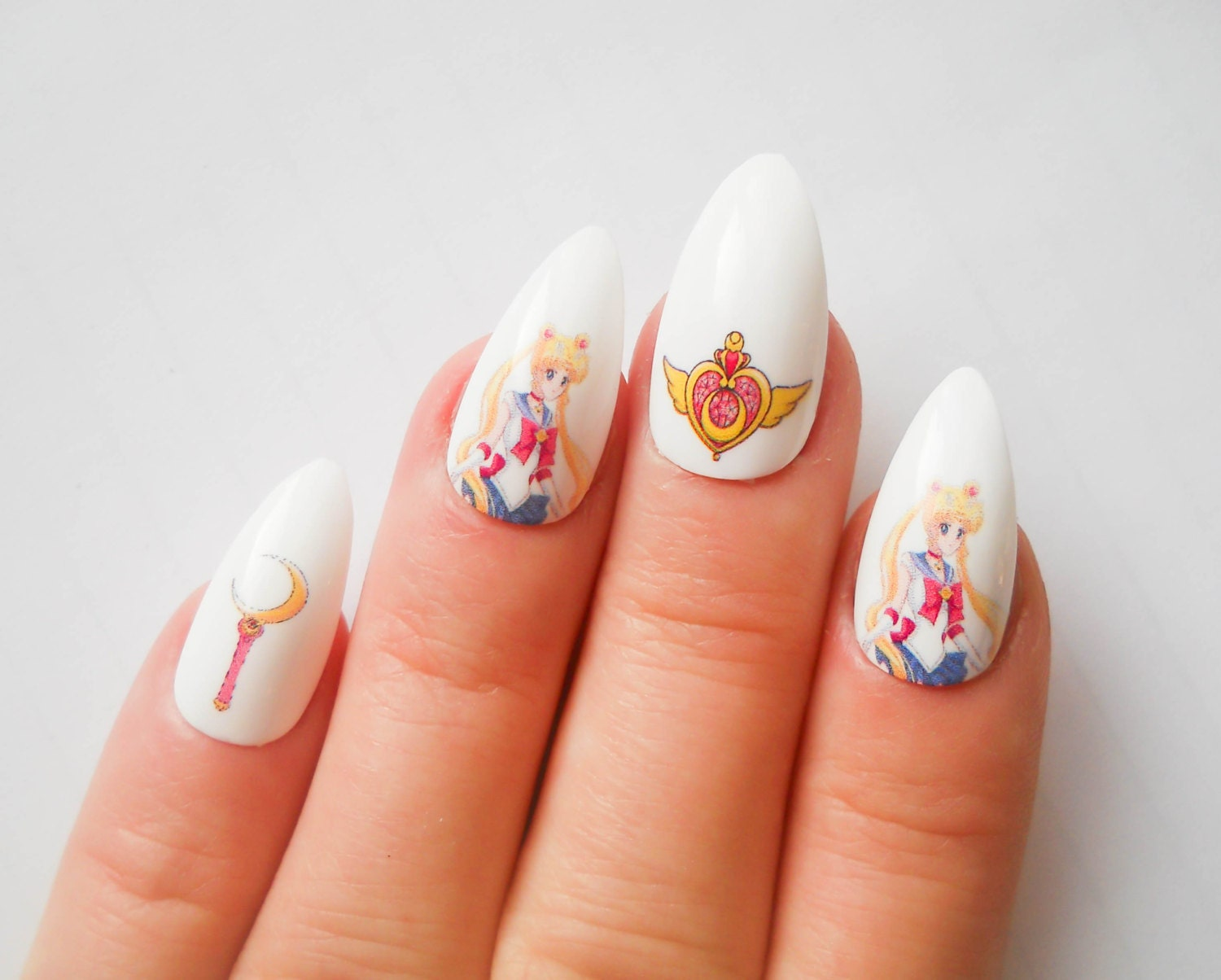 Sailor Moon Stiletto Nails, Fake Nails, Almond Nails, False Nails ...