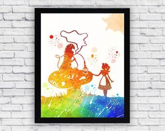 Alice in Wonderland Watercolor print, Alice in Wonderland Printable Wall Art, Alice in Wonderland wall decor, Alice home decor poster