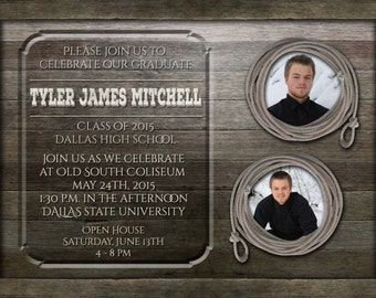 Western Graduation Invitations | Country Rustic Graduation Announcements | Senior Grad Invites