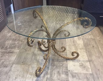 Vintage Italian Gilt Gold Side Table Rope Hollywood Regency Italy