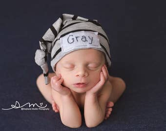 baby knot hat name - newborn boy coming home outfit - monogramed hat - personalized newborn hat - hospital hat - newborn photo prop