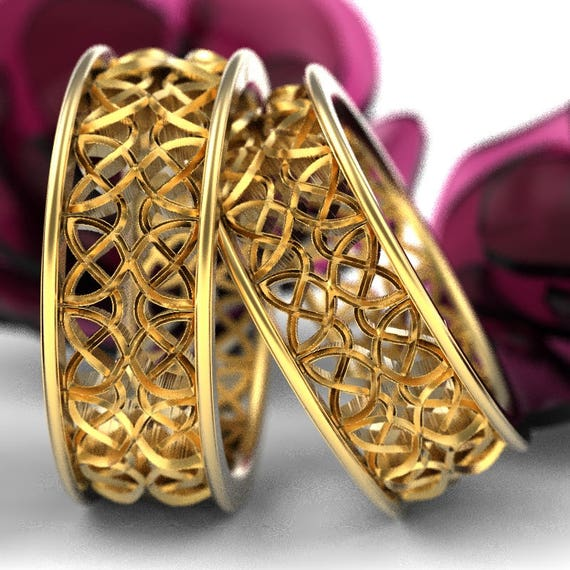 Celtic Wedding Ring Set With Mirrored Dara Knotwork Design Made in 10K 14K 18 Gold or Palladium, Made in Your Size cr-639