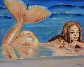 Love has left me hanging,36x24 oil painting, mermaid painting, wall art, ocean view, original art,home decor