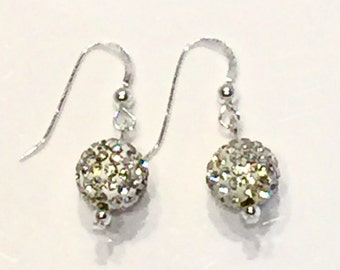 Clear Pave' crystal earrings, crystal ball earrings, white crystal earrings, sterling silver crystal earrings, rhinestone crystal balls