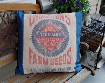 "Vintage Seed Sack Pillow Cover - Blue Denim 20""x20"""