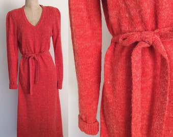 1970's Orangey Red Acrylic Belted Sweater Dress