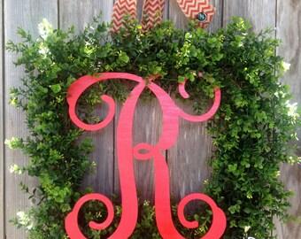 Square Monogram Boxwood Wreath-Boxwood Wreath-Housewarming Gift-Modern Wreath-Monogram Gift-Monogram Wreath-Monogram Wedding Gift