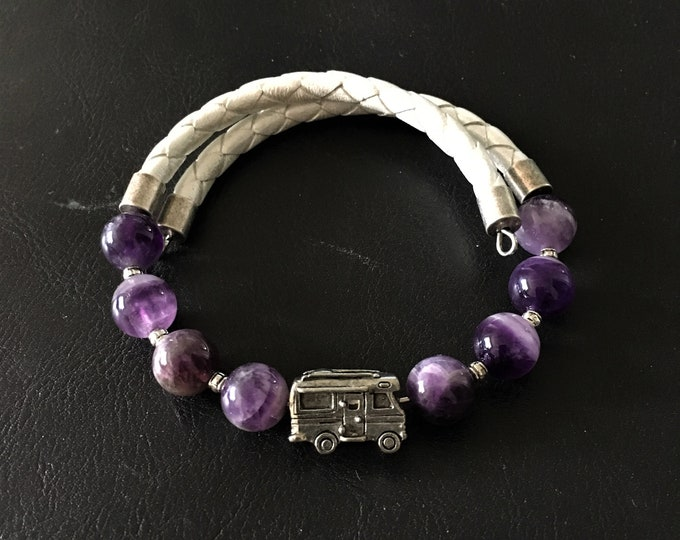 Featured listing image: Class C Motorhome Bracelet, Amethyst Bracelet, Leather Bracelet, Motorhome Charm, Motorcoach Charm, Gift for RVer, Wrap Bracelet, 99010
