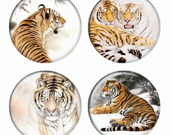 Tigers In The Wild Magnets or Pinback Buttons or Flatback Medallions Set of 4