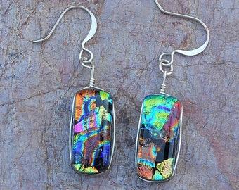 Fusesd Dichroic Art Glass Dangle Earrings