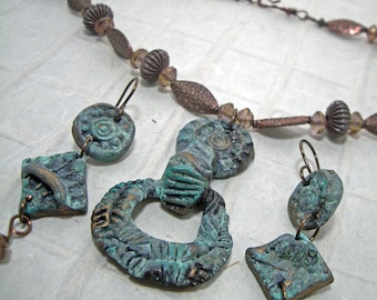 Artisan Patina Rustic Necklace and Earring Set