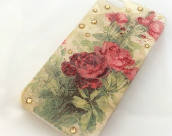 Red rose phone case, romantic decoden phone case