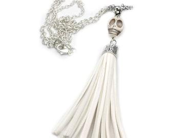 skull wedding jewelry, skull wedding necklace, day of the dead, long tassel necklace, frida kahlo, alternative, sugar skull jewellery