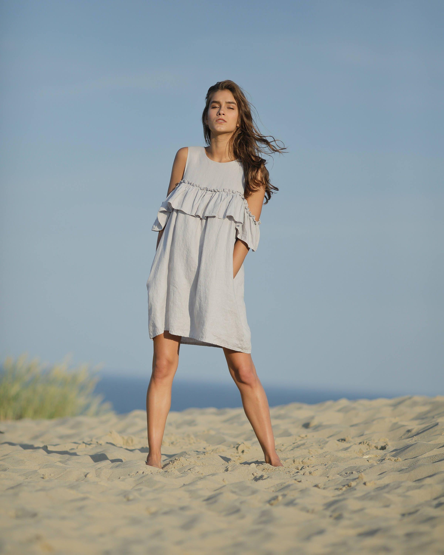 Linen party dress / custom smock dress with pockets / girls summer ...