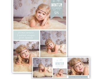 Winter mini session template, mini session template, photography marketing template, free facebook timeline template