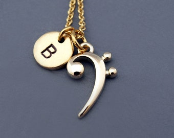 Bass clef etsy bass clef necklace gold bass clef charm necklace base clef music musician aloadofball Images