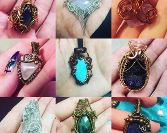 Custom wire wrapped pendant