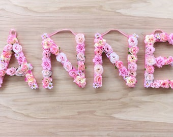Pink Flower Letter or Number Wall Hanging - Girly Floral Letters - Baby Nursery / Shower - Girl Bedroom Decor - Girls Boho Flowery Initial