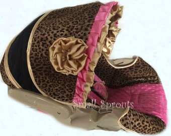 Kitty Collection Gold and Hot Pink/Cheetah with Hot Pink Minky Infant car seat cover 5 piece set