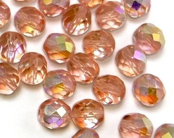50 pcs 8 mm Glass Beads Peach AB Round Faceted Czech Fire polished B-53