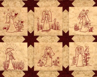 Redwork Angels Quilt Pattern - Redwork Hand Embroidery Blocks & Quilt Finishing Pattern - by Beth Ritter - Instant Digital Download