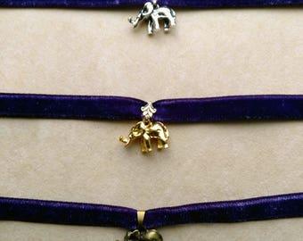 Elephant Charm Choker, Elephant Pendant, Gold/Silver Plate/Bronze Elephant Charm, Thin Purple Velvet,Velvet Choker Necklace by enchantedbeas