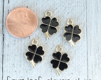 Black and Gold Four Leaf Clover, Good luck Charm