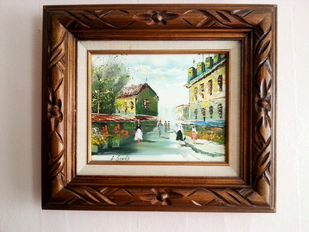 Oil painting on canvas with double matted frames carved wooden zoom jeuxipadfo Images