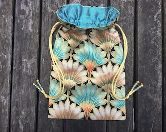 A Touch of Spice Tarot / Oracle Bag Lined with Aqua Dupion Silk