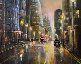 Original oil painting ''Ghost town'