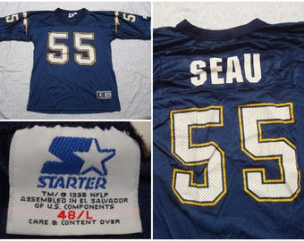 Vintage Retro Men's 90's Starter Jersey San Diego Chargers Junior Seau 55 Blue Short Sleeve 48 Large