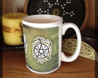 Swirling Leaves Pentacle 15 oz coffee mug