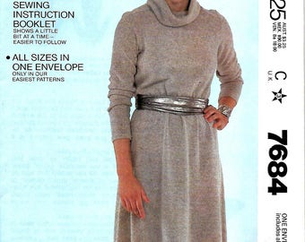 McCall's 7684  Misses Easy Fit-Easy Sew  Cowl Neck Pullover Dress Pattern, PT-L, UNCUT