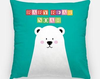 Custom Nursery Baby Bear Pillow - Nursery Decor, Baby Gift, Baby shower, Personalized nursery, nursery pillow, nursery cushion, baby nursery