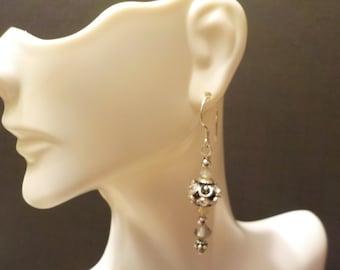 Pacific Opal and Smokey Swarovski Crystal Earrings