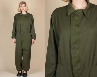 Vintage Olive Drab Coverall Jumpsuit - Mens XL | 80s Zip Up Baggy Mechanics Workwear Army Pantsuit