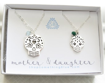 Sugar Skull Necklaces • Birthstones • Mother & Daughter Gift • Dia De Los Muertos • Calaveras • Personalized Jewelry • Mother's Day Gift