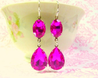 Fuchsia Hot Pink Earrings Teardrop Drop October birthstone Wedding Bridal Estate Style Earrings