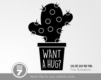 Cactus #2 - Want a hug - svg eps dxf pdf png