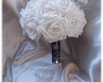 Bridal bouquet white or ivory lace with diamond black