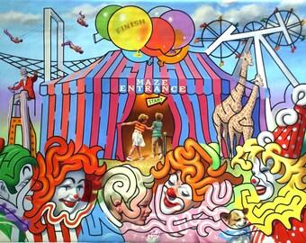 Maze Circus Tent 11 x 17 print (image 10.5 x 14.25) by artist RUSTY RUST / M-20-P