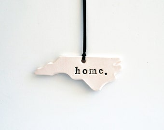 NC Home Ornament, Ceramic, Pottery, Handmade - North Carolina - State shape - Christmas Ornament- Lauren Sumner Pottery