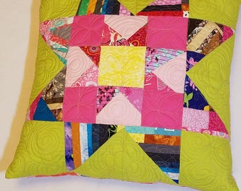 Patchwork pillow cover, quilted pillow cover, pink pillow, star pillow, quilted pillow, wonky star pillow, decorative pillow, bright pillow