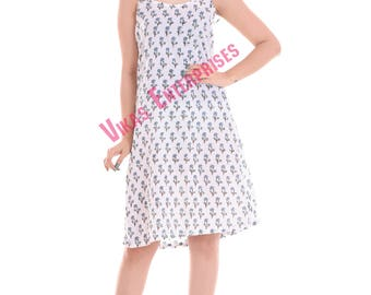 Hand Block Printed Cotton Western Night gown/Tunic/Gown/